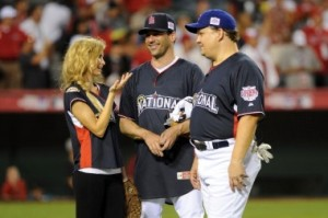 Marisa Miller Jon Hamm and Andy Richter at the MLB Celebrity All Star Game