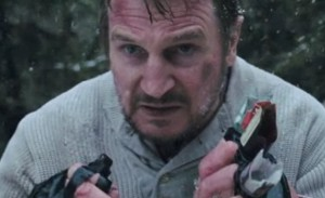 "Liam Neeson in ""The Grey"" preparing to battle wolves"