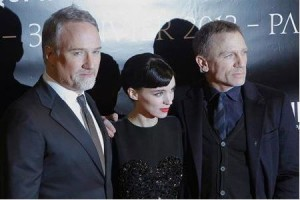 David Fincher with Rooney Mara and Daniel Craig from The Girl With The Dragon Tattoo