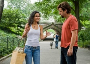 Adam Sandler and Emmanuelle Chriqui in the Zohan movie
