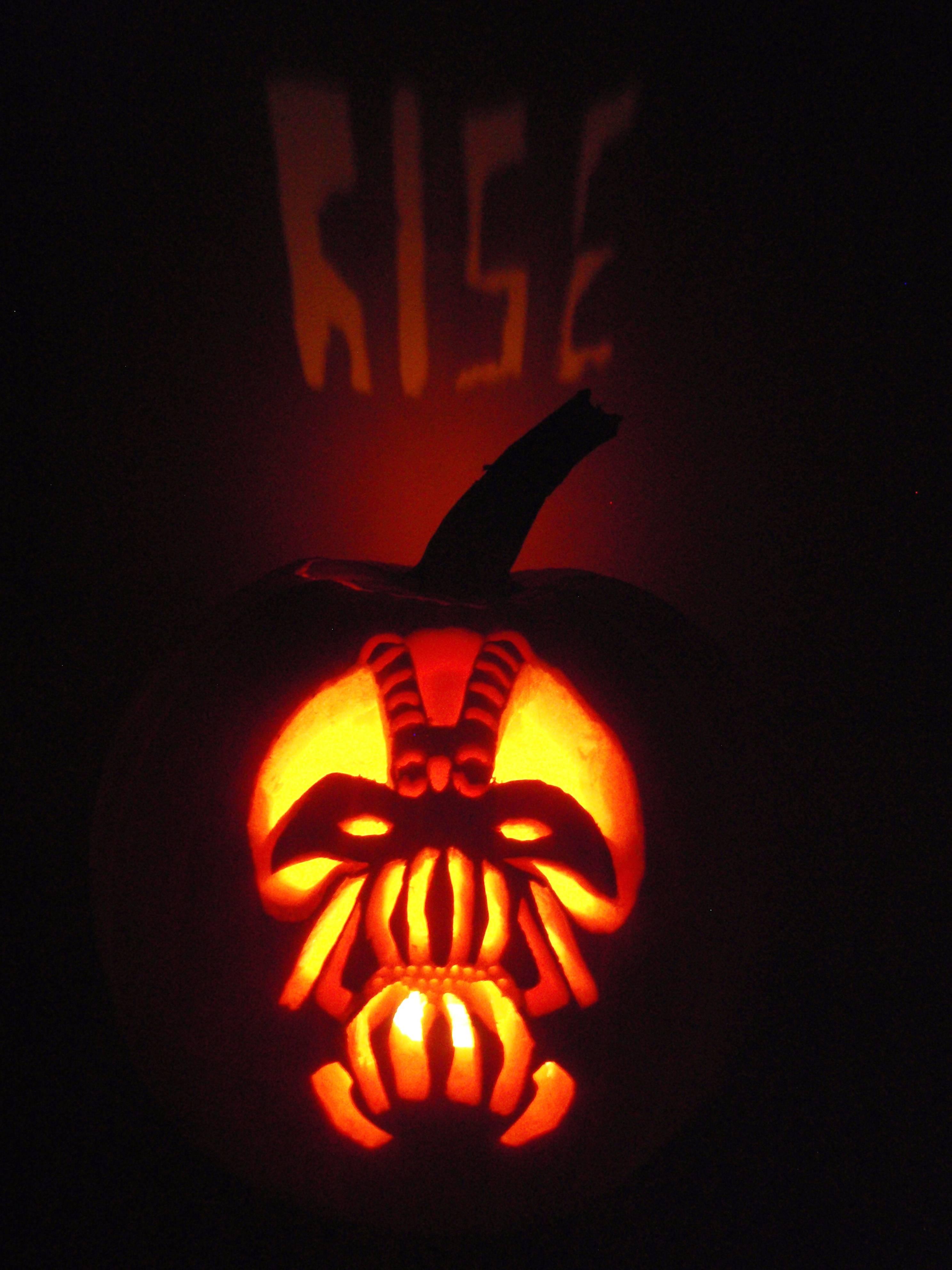 Dark Knight Pumpkin Carving Patterns Dark Knight Rises Bane Pumpkin