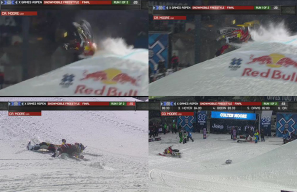 These screen grabs depict the horrifying crash Caleb Moore endured Thursday night. Images courtesy ESPN