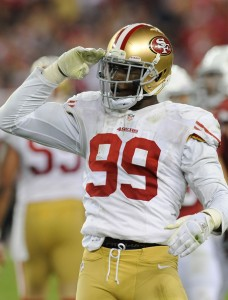 SALUTE-ATIONS: If the 49ers are going to win in New Orleans, they're going to need Aldon Smith to introduce himself to the Ravens O-line early and often. Photo courtesy Norm Hall/Getty Images
