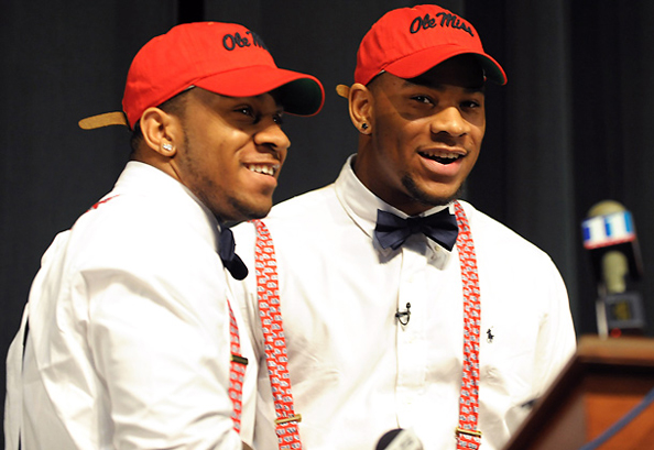 BROTHERS IN ARMS: The Nkemdiche brothers will play wearing the same colors in college at Ole Miss. Photo courtesy Dave Tulis/AP