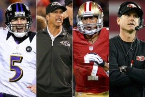 FINAL FOUR: Two of these guys are going to be the faces of a Super Bowl championship team come Monday morning. Photos courtesy Getty Images