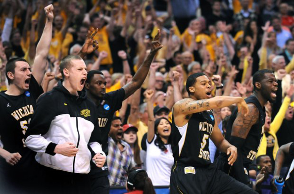 ANOTHER UPSET, SHOCKER: Wichita State got the Final Four by ousting basketball's elite, but they believe they were a part of the group all along. Photo courtesy Wally Skalij/Los Angeles Times