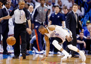UNLUCKY BREAK: Russell Westbrook is out indefinitely and the offseason may come for the Thunder sooner than they'd like. Photo courtesy Sports Illustrated
