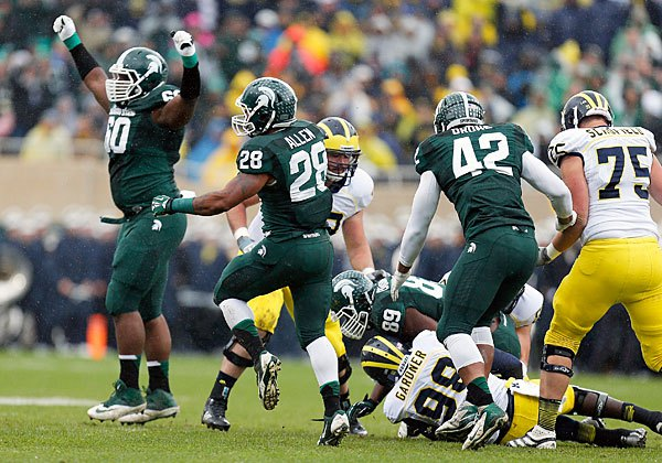 The Spartans' dominant defense was the main reason they won their rivalry game against Michigan. Photo by Gregory Shamus/Getty Images.