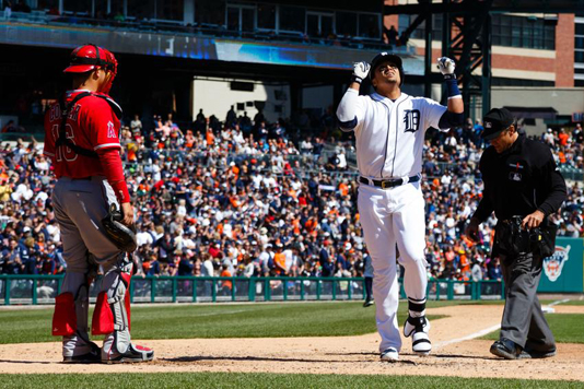 ON THE PROWL: Victor Martinez and the Tigers, usually under-achievers in the early months, are hunting mercilessly and increasing their division lead. Photo courtesy Rick Osentoski-USA Today Sports