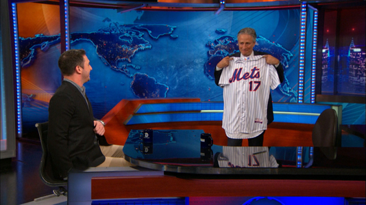 ICYMI: Matt HArvey came on 'The Daily Show' and presented retiring host (and lifelong Mets fan) Jon Stewart with a jersey. Photo courtesy Comedy Central