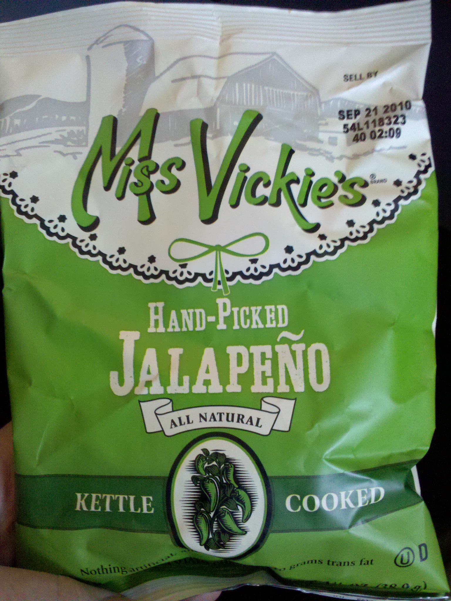 Miss Vickie's Hand-Picked Jalapeno Kettle Cooked Chips. It's a ...